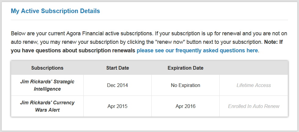 My Subscription Details