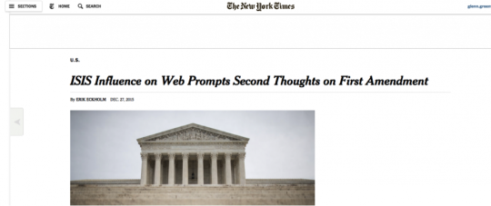 ISIS Influence on Web Prompts Second Thoughts on First Amendment