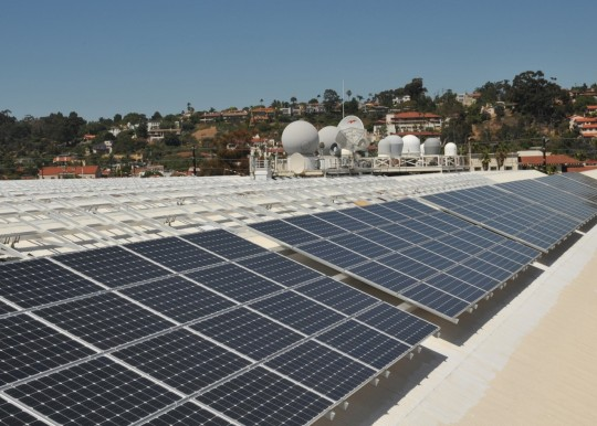Solar Panels on the roof of Space and Naval Warfare System Command headquarters