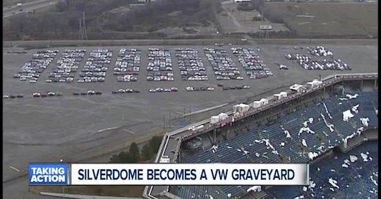 Silverdome Becomes a VW graveyard