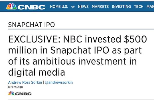 Snapchat IPO CNBC headline