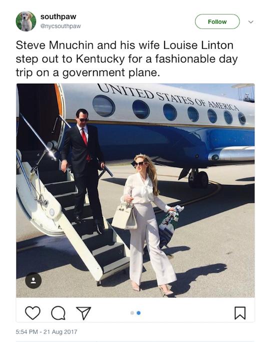 Mnuchin's wife tweet
