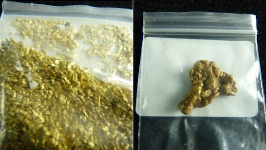 Bags of gold dust and gold nuggets