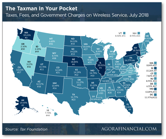 Taxes, fees and government charges on wireless service map chart