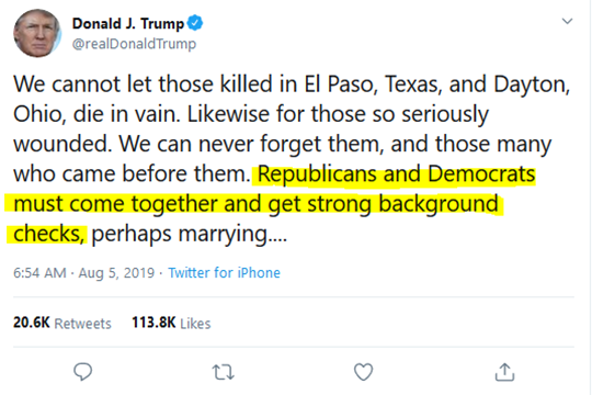 Donald J. Trump Tweet Gun Reform