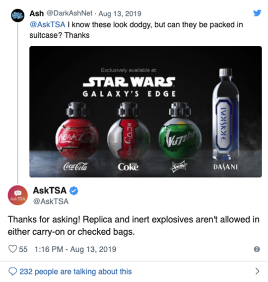 TSA Tweet Safety