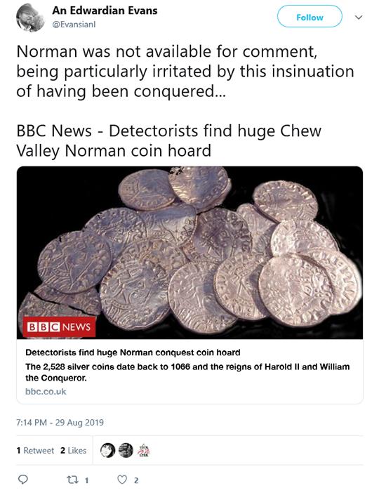 Norman Coin Hoard BBC Tweet
