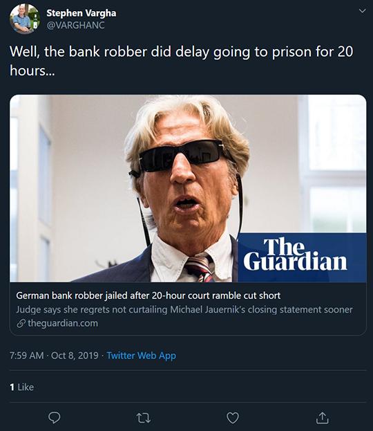 Bank Robbery tweet