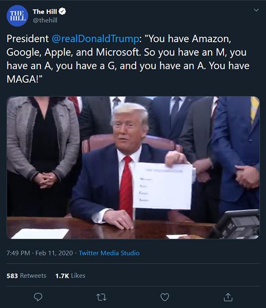 The Hill Trump Tweet